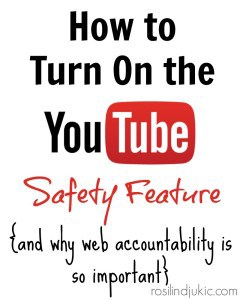"Did you know that YouTube has a safety feature? Yep! Here's how you can turn it on...and how you can keep your family ""web accountable""."