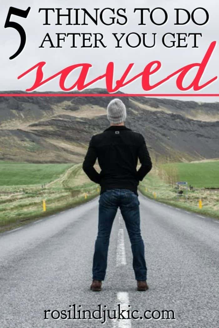 You're saved! Now what? Here are 5 things you need to start doing after you get saved to successfully live the Christian life. #alittlerandr #salvation #saved #prayer #biblereading #quiettime #church