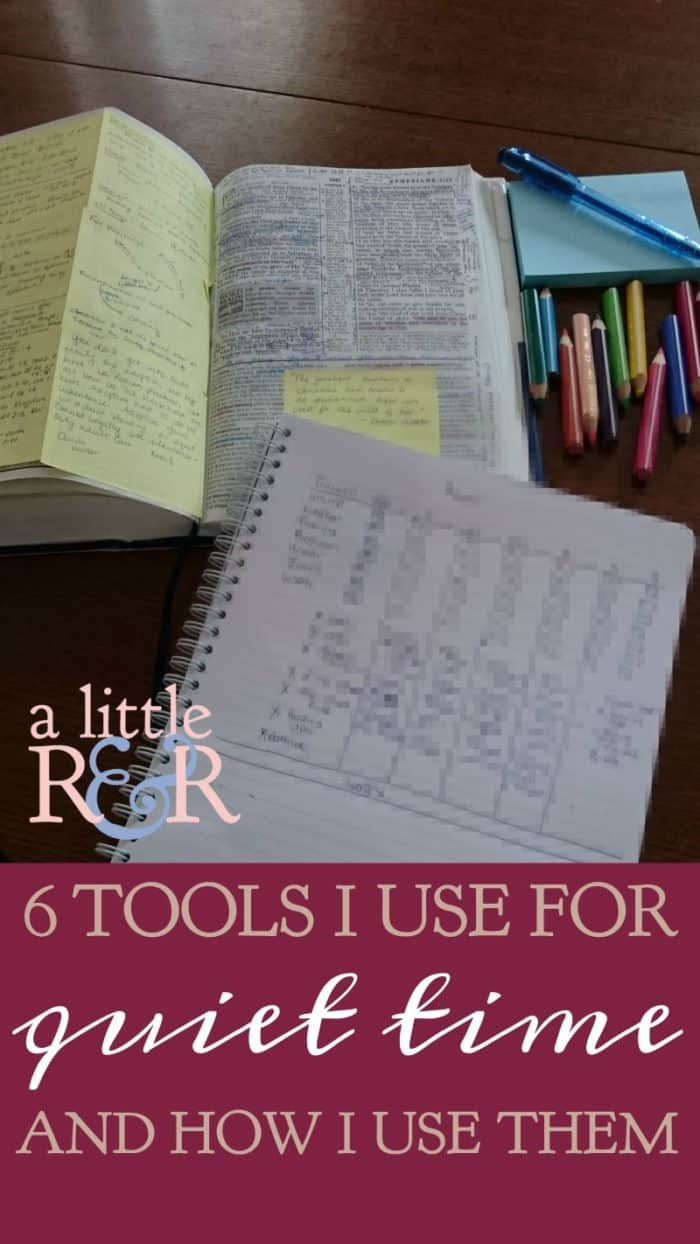 Its easy to get overwhelmed with all the tools and printables that could be used in a quiet time.Keep it simple with these 6 things I use in my quiet times. #alittlerandr #quiettimes #journaling #Biblejournaling #Biblestudy