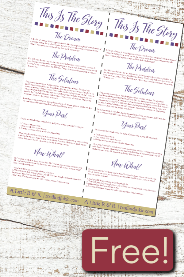 This colorful gospel tract is so simple and easy to use and makes a perfect gift as a bookmark. Grab your free download today! #alittlerandr #evangelism #gospel #Jesuschrist Bible