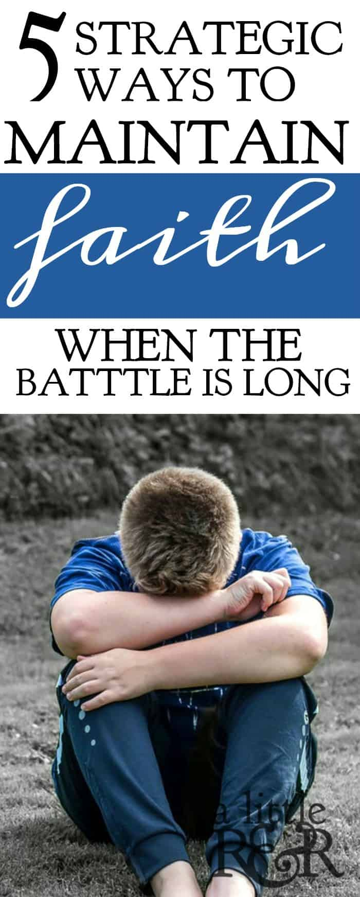 5 Strategic Ways to Maintain Faith When the Battle Is Long. It is really hard to keep fighting when the battle is long and you grow tired and weary of fighting. Here are 5 things we learn from David's battle with Goliath that encourage us to maintain faith and joy in the battle. #faith #Bible #Christianliving #Christian #Jesus #warroom