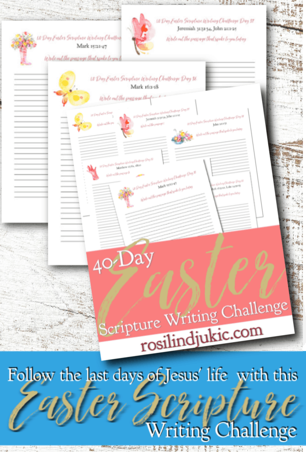Intimately walk through Jesus' final days on earth with this 40 DayEaster Scripture Writing Challenge and free Easter Reading Plan and journal. #alittlerandr #easter #bible #readingplan #quiettime #warroom